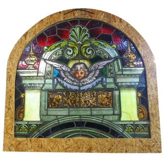 Traditional Painted Laminated Cherub Stained Glass Windows For Sale