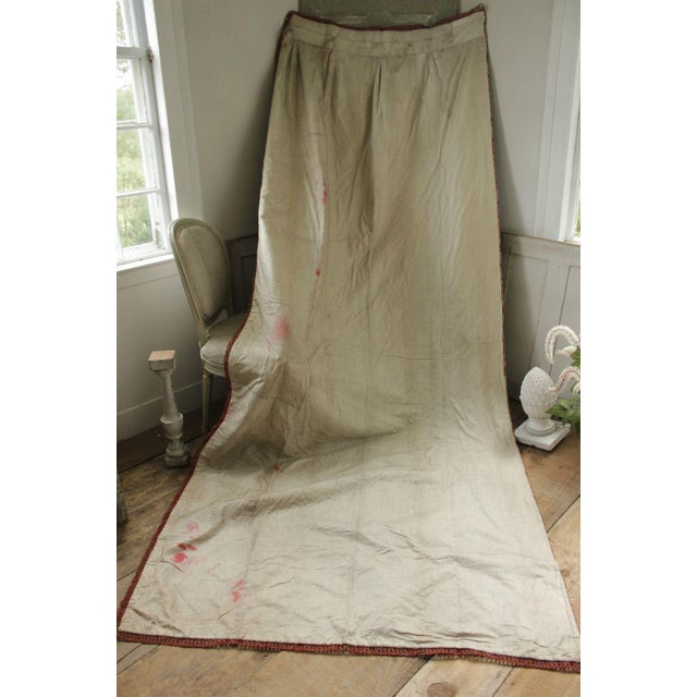 An exceptionally rare and wonderful textile! This wonderful textile is an antique French bed drape / curtain that dates...