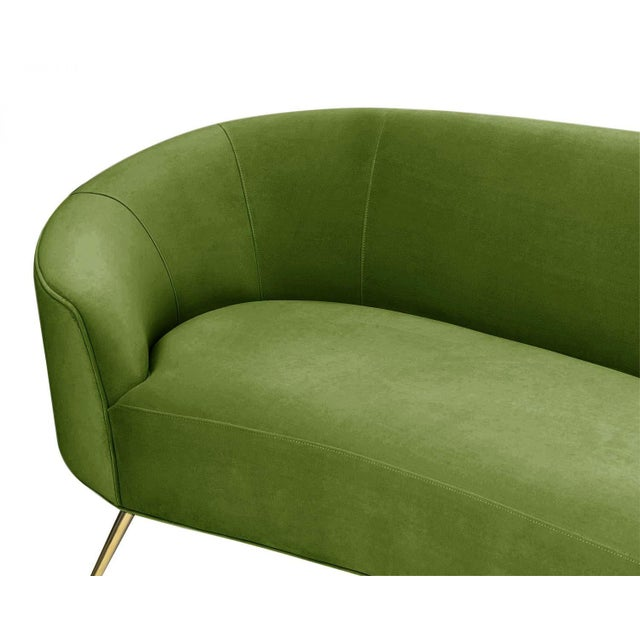 2010s Pasargad Home Sorrento Collection Velvet Sofa, Green For Sale - Image 5 of 8