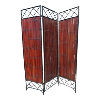 Wrought Iron and Bamboo Slat, Three-Panel Screen