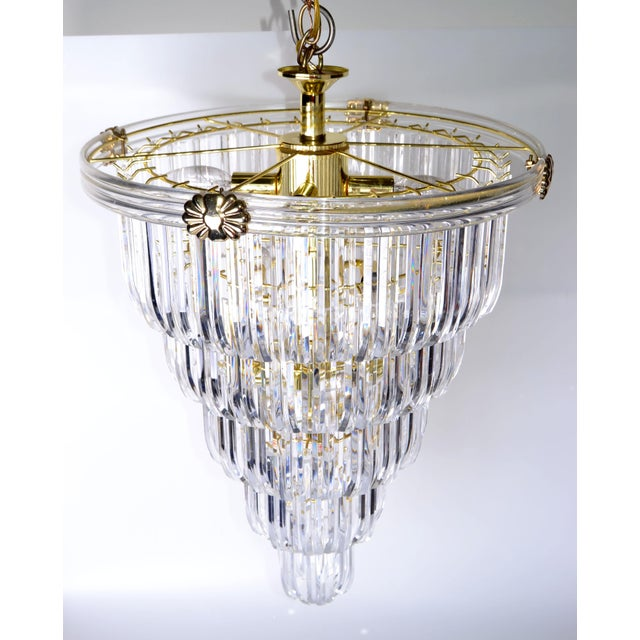 Brass & Lucite Chandelier - Image 4 of 9