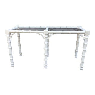 1970s Chippendale Lane Faux Bamboo Console Table With Smoked Glass For Sale