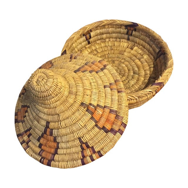 Moroccan Basket With Lid - Image 1 of 6