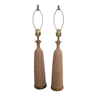 Mid-Century Modern Speckled Ceramic & Brass Bottle Lamps - A Pair