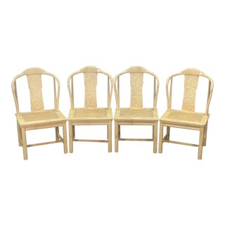 Vintage Henredon Folio 16 Asian Style Faux Goatskin Accent Arm Chairs - Set of 4 For Sale