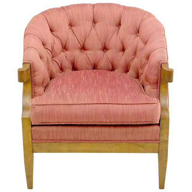 Winsor White & William Millington for Baker Button-Tufted Silk & Walnut Club Cha - Image 1 of 9