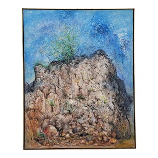 1960s Vintage Blanche Joelson Rock Landscape Oil on Canvas Painting For Sale