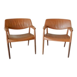 Brown Leather Arm Chairs by Ejner Larsen & Aksel Bender Madsen - a Pair For Sale