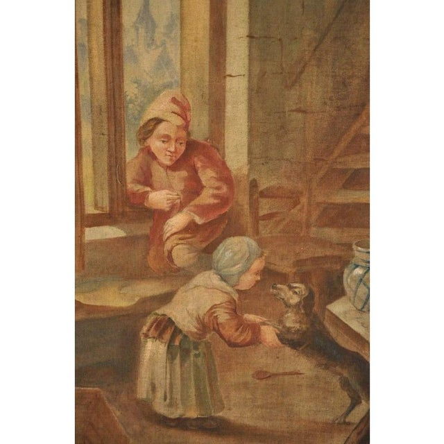 Late 19th Century Large 19th Century French Hand-Painted Canvas on Stretcher After David Teniers For Sale - Image 5 of 9