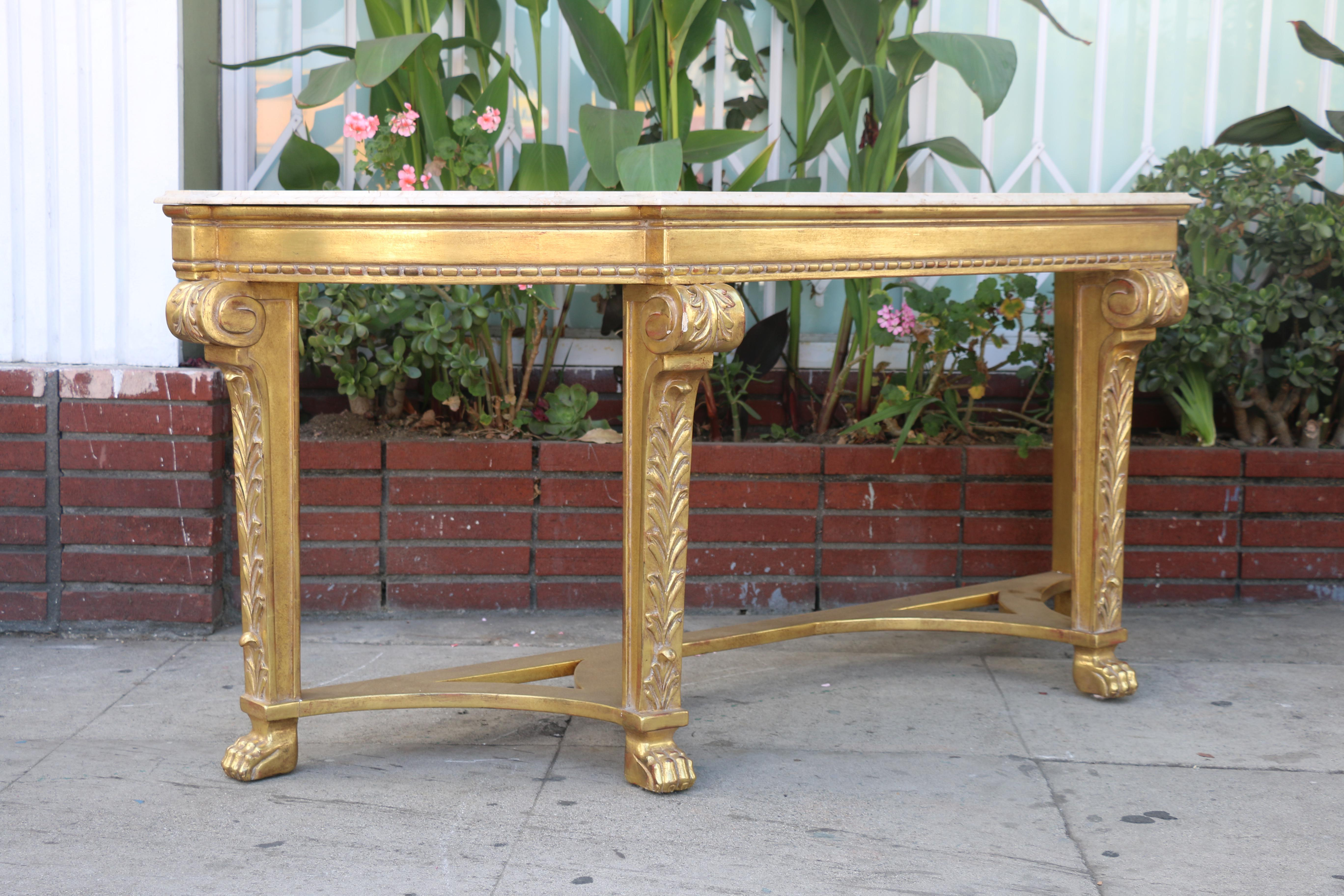 Italian Gold Leaf Console Table For Sale   Image 4 Of 11