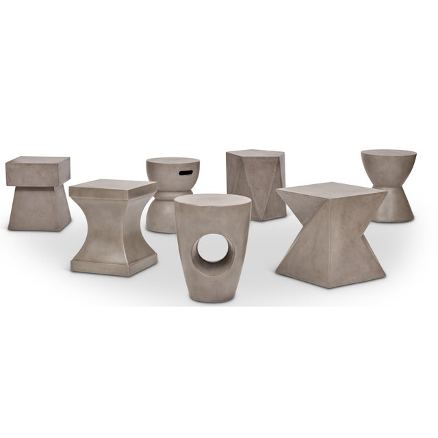 Concrete Marvin Stool, Dark Grey For Sale - Image 7 of 8