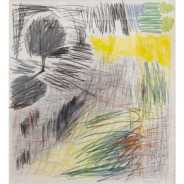 """This is a pencil and pastel drawing by Helen Meyrowitz titled """"Site/Ing#12"""". Image: 18"""" x 20"""" Framed: 28 3/4"""" x 31"""" x 1..."""