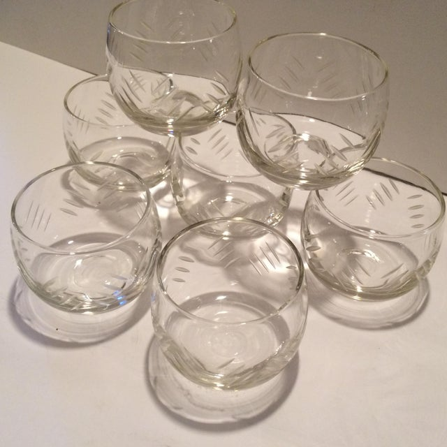 1930's Cut Crystal Roly Poly Glasses - Set of 7 For Sale - Image 9 of 11