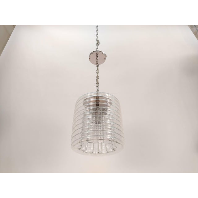 Clear Ribbed Glass Pendant For Sale In New York - Image 6 of 9