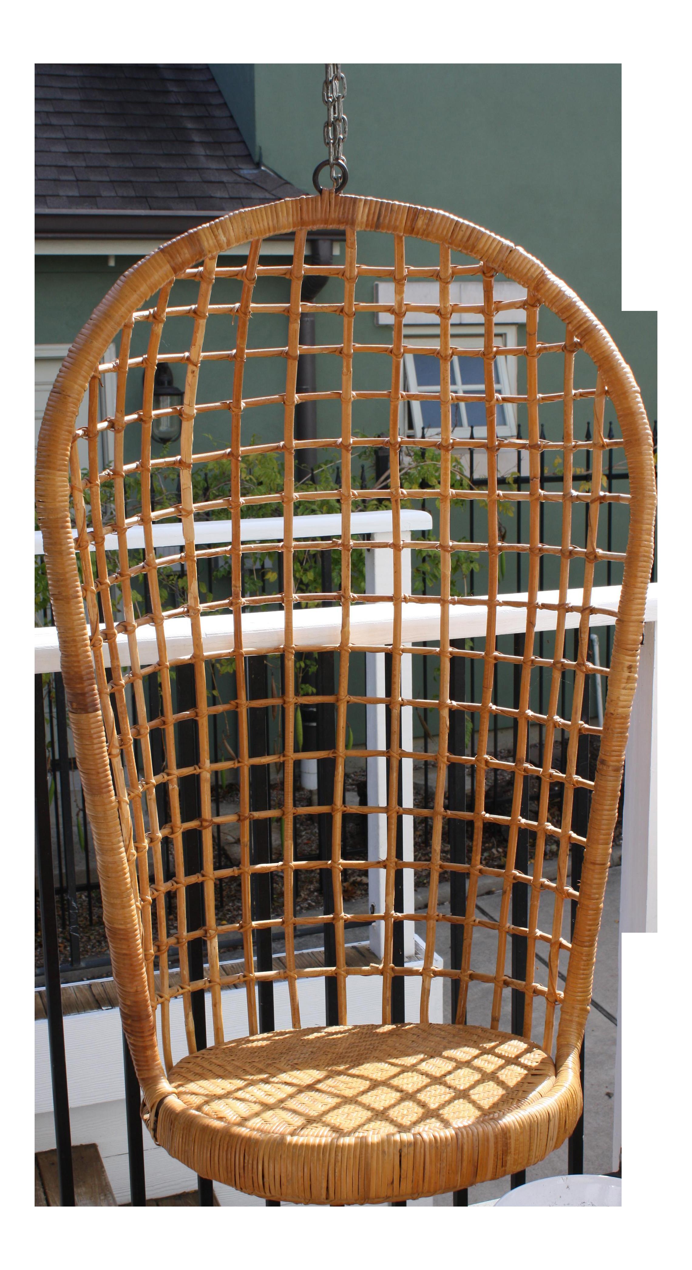 Vintage Rohe Hanging Cane U0026 Rattan Egg Chair