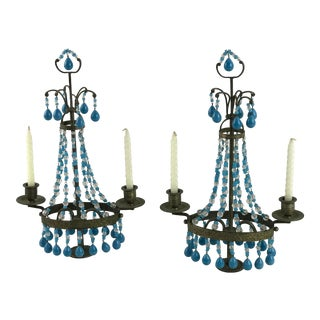 French Ormolu Alabaster Blue Opaline Glass Table Torchiere Candle Holders - a Pair For Sale