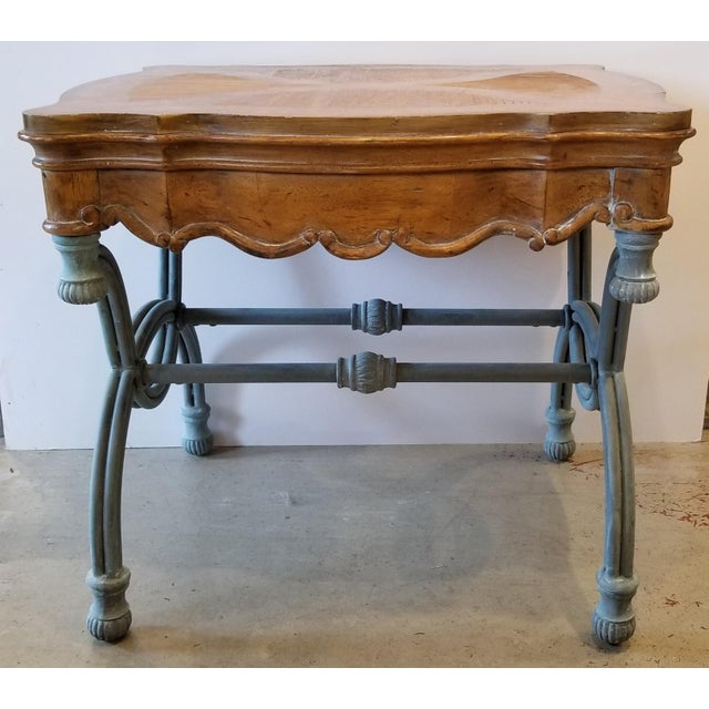 Burlwood 1990s Italian Burl Wood & Iron Side Table For Sale - Image 7 of 7