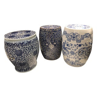 Chinese White and Blue Garden Stools - Set of 3 For Sale