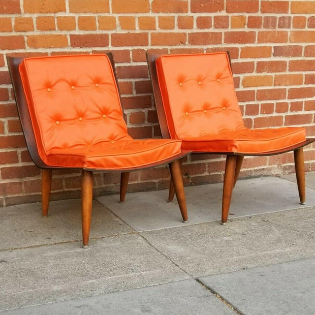 Mid-Century Bentwood Upholstered Carter Brothers Scoop Chairs- A Pair For Sale - Image 9 of 9