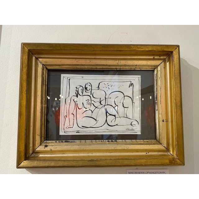 Small Pen and Ink Matisse-Esque Subject, Mae Bender of Kingston Ny, in 19th Century Gilt Frame For Sale - Image 4 of 4