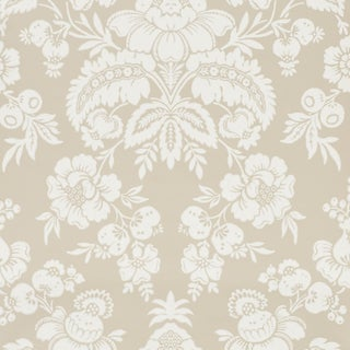 Schumacher Simone Damask Wallpaper in Stone For Sale