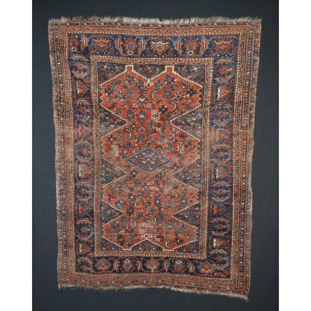 """Distressed Antique Persian Tribal Rug - 3'7"""" X 4'9"""" - Image 2 of 9"""