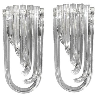 Curved Triedri Murano Glass Sconces by Venini - a Pair For Sale