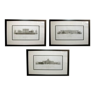 Early 18th Century English Architectural Copper Engravings by Colen Campbell, Framed - Set of 3 For Sale