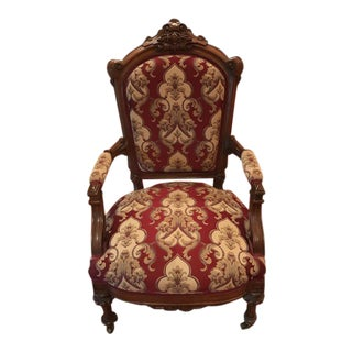 1940s Antique Upholstered Bergere Chair For Sale