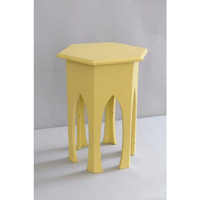 Antique Primitive Rustic Moorish Style Yellow Painted Accent Side Table Arched - Image 2 of 11
