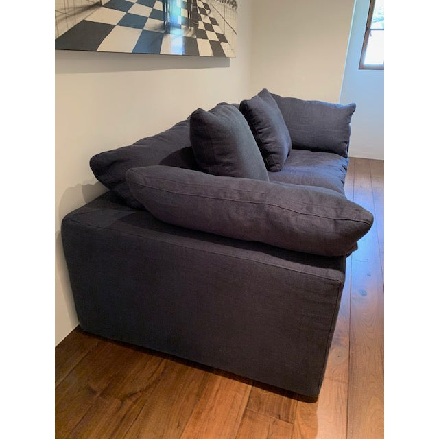 Restoration Hardware Navy Cloud 2 Seat Down Sofa For Sale - Image 10 of 13