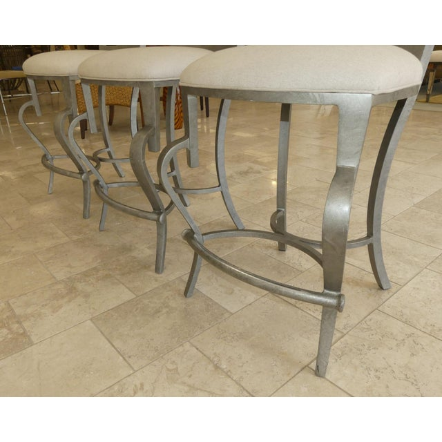 1990s Modern Biedermeier Style Metal Counter Stools - Set of 3 For Sale - Image 9 of 13