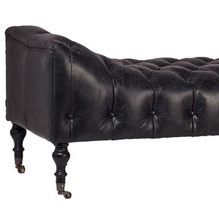 Tufted Chesterfield Black Leather Bench Preview