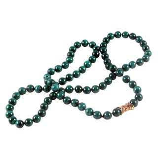 18K Yellow Gold and Malachite Beaded Necklace For Sale