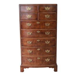Vintage American Chippendale Style Mahogany Nine-Drawer Highboy Dresser by Henredon