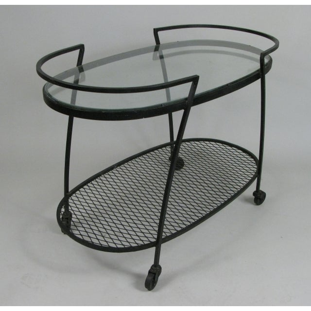 1950s Oval Wrought Iron 'Pinecrest' 1950s Bar Cart by Woodard For Sale - Image 5 of 8