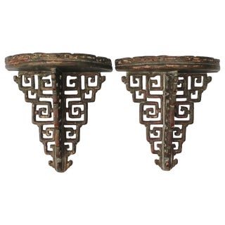 Pair of James Mont Style Ceramic Wall Brackets For Sale