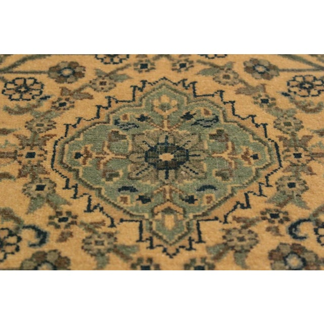 Contemporary Semi Antique Istanbul Catrina Ivory/Lt. Green Turkish Hand-Knotted Rug -4'2 X 6'1 For Sale - Image 3 of 8