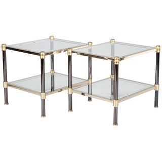 Pair Mid Century Roche Bobois Chrome & Brass Side Tables For Sale