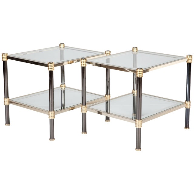 Roche Bobois Chrome & Brass Side Tables - A Pair - Image 1 of 5