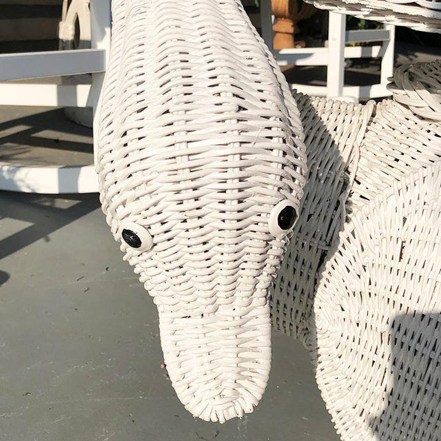 Boho Chic 1970s Folk Art White Figurative Animalia Wicker Swan Table For Sale - Image 3 of 7