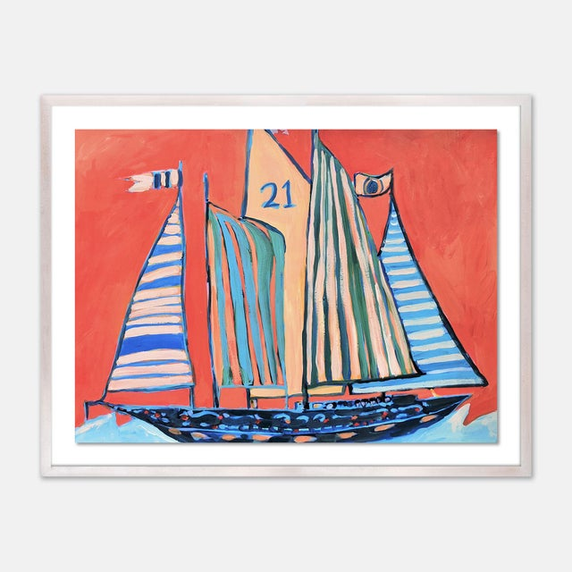 Contemporary SB Norman's Cay by Lulu DK in White Wash Framed Paper, Small Art Print For Sale - Image 3 of 3