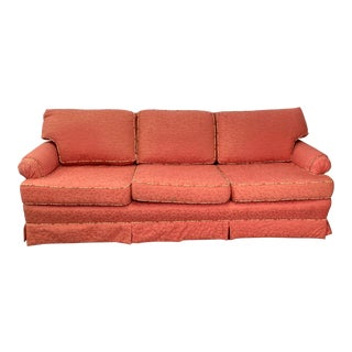 Vintage Three Cushion Pink Vine Upholstered Sofa With Contrast Cording For Sale