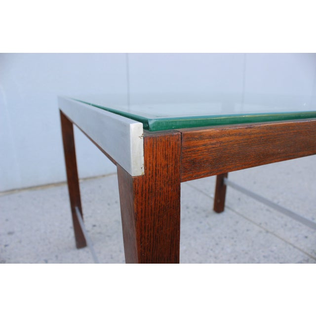 Brown 1970's Modern Chrome and Walnut Side Table For Sale - Image 8 of 8