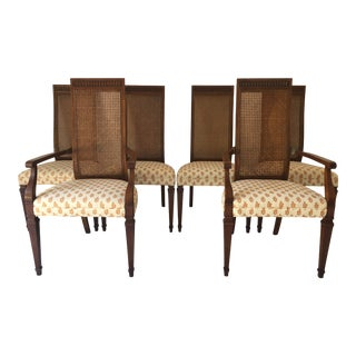 Vintage French Regency Style Drexel Heritage Caned Dining Chairs S-6 For Sale
