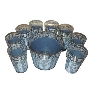 Mid-Century Jeanette Glass Greek/Roman Tumblers and Chiller - 9 Pc. Set For Sale