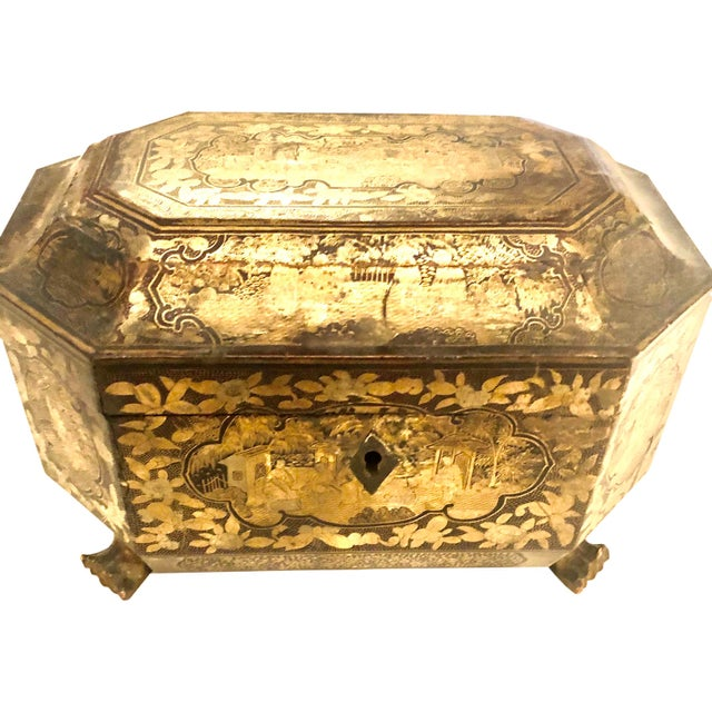 Gold 19th Century Chinese Tea Box For Sale - Image 8 of 11