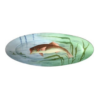 Antique French Signed Limoges Fish Platter For Sale