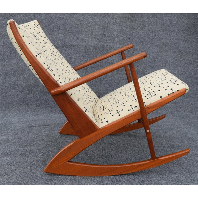 Kubus Vintage Georg Jensen for Kubus Danish Mid-Century Boomerang Teak Rocking Chair For Sale - Image 4 of 11