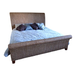 Pottery Barn Seagrass Eastern King Sleigh Bed